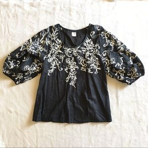 Edme & Esyllte Black Embroidered Top Women's Sz 6